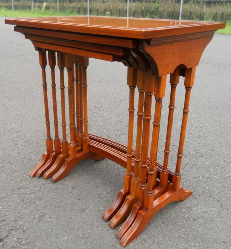 Nest of Four Yew Wood Coffee Tables by Bradley